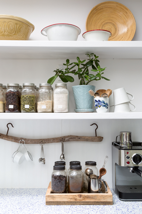 using a branch as a kitchen organizer
