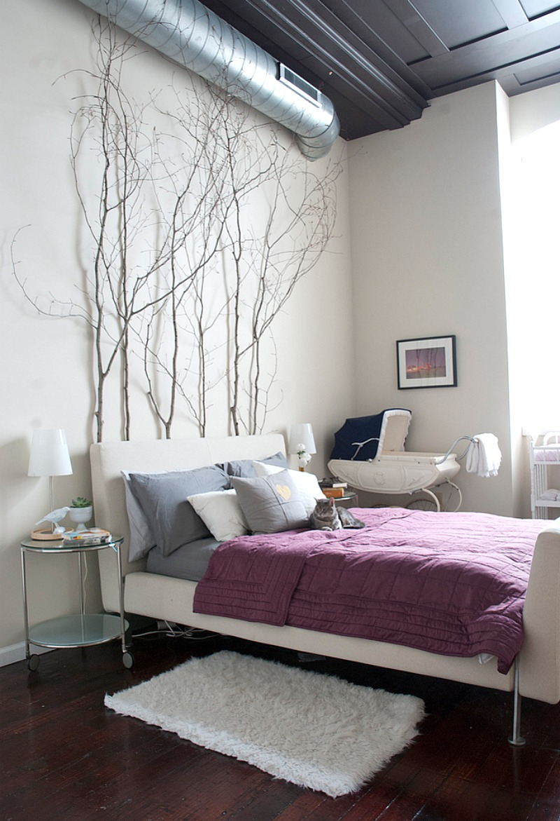 tree branches as headboard