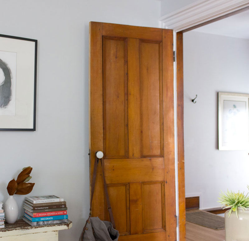 My heritage home apartment with beautiful wood doors and trim: Sherwin Williams Ice Cube on walls