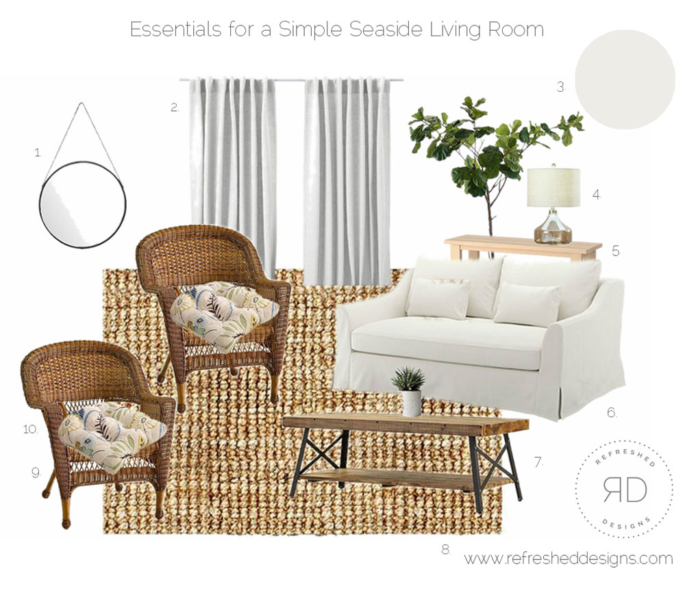 Simple Seaside Cottage Living Room design board and sources