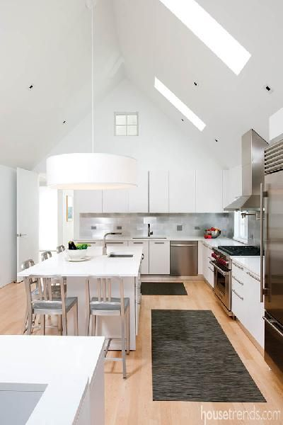 Recycled aluminum backsplash via House Trends