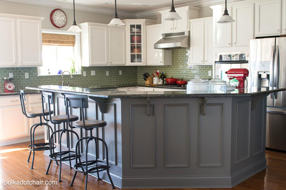 gray-painted-kitchen-island white uppers
