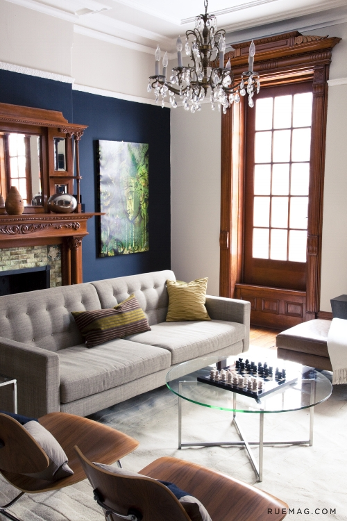 navy wall with dark wood trim - how to choose colours to go with wood trim