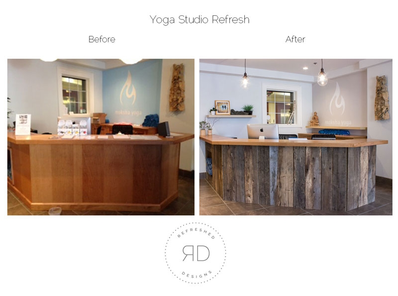 before and after barn board reception desk