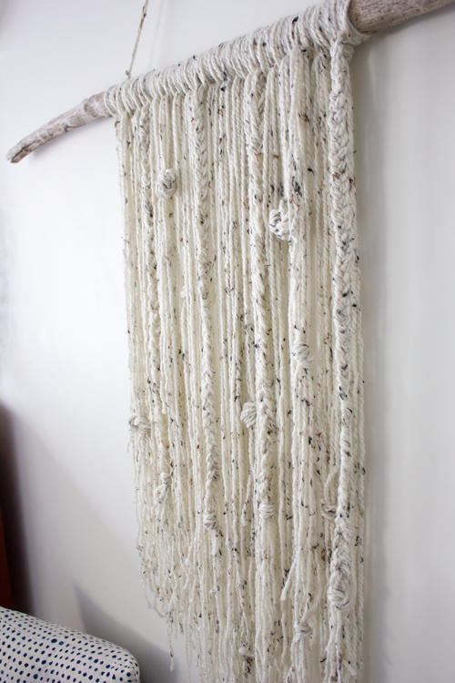 how to create a simple yarn and stick wall hanging DIY