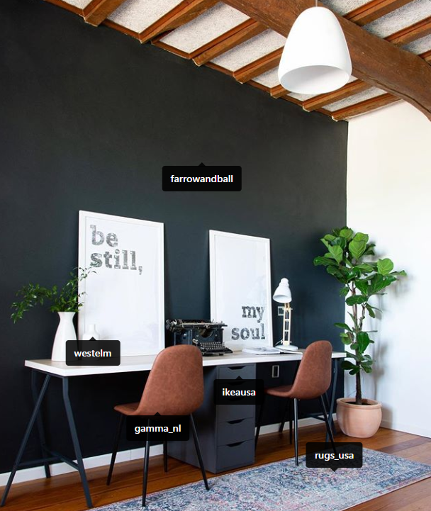 Dark office focal wall by MaryCasaChic