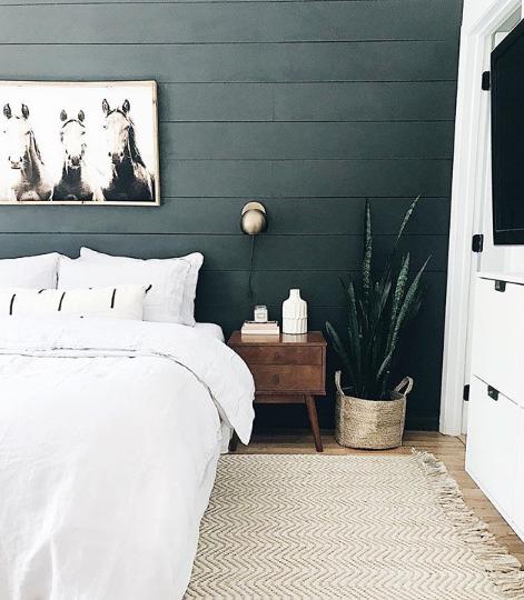 Dark shiplap wall behind bed by Restoring Home