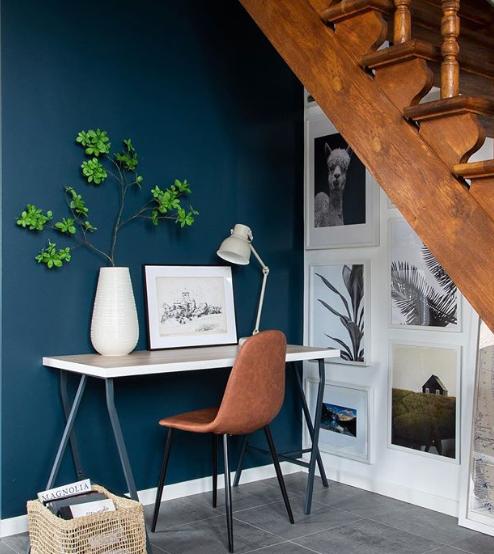 Dark paint under stairwell by MaryCasaChic
