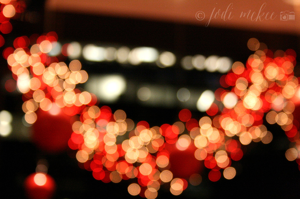 holiday light bokeh, new york city
