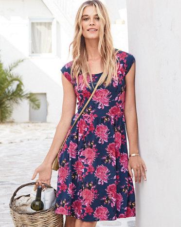Sophia Cap-Sleeve Knit Dress, Garnet Hill