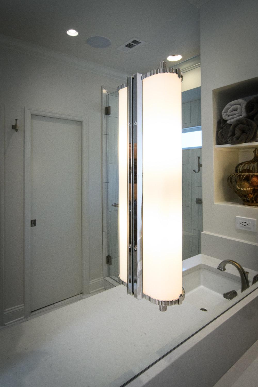 White cabinets, quartz countertops, mirror light, square undermount sinks, large format tile, Vestavia Hills, Liberty Park, Alabama, Remodel, Renovation.