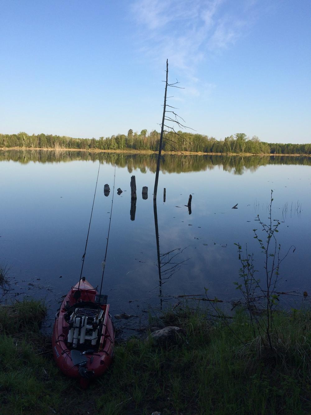 A sunrise launch on a small Minnesota Lake
