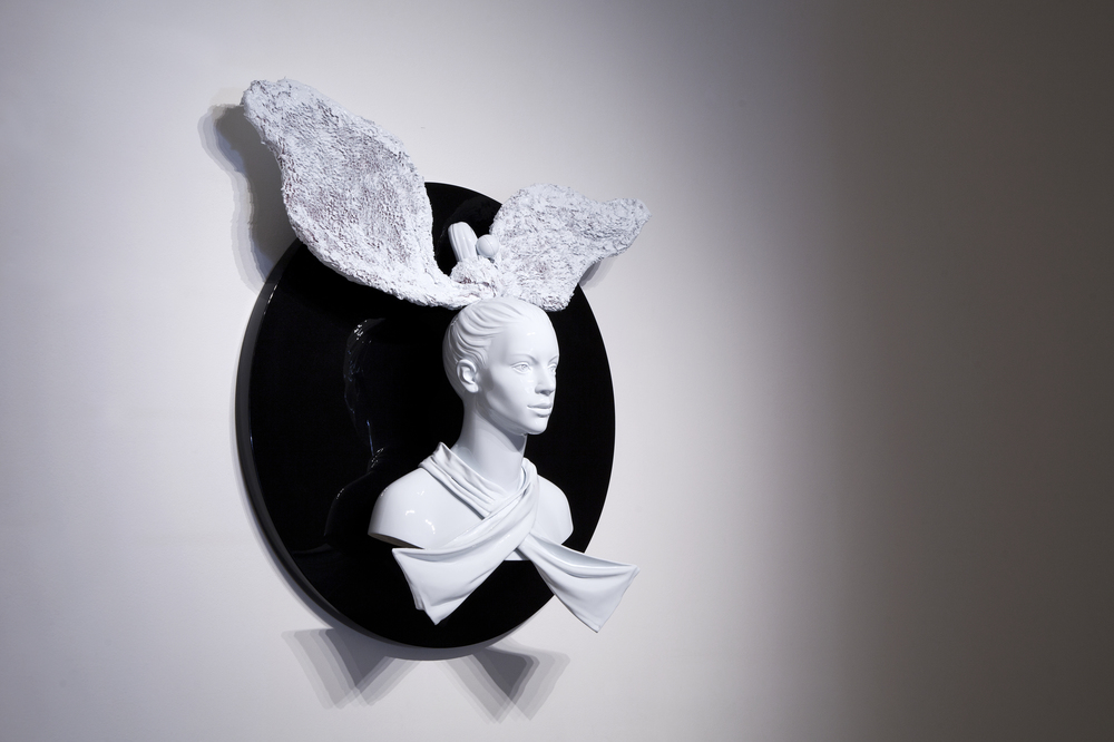 Bunny Girl, 2015, acrystal, acrylic paint, 100 x 100 cm