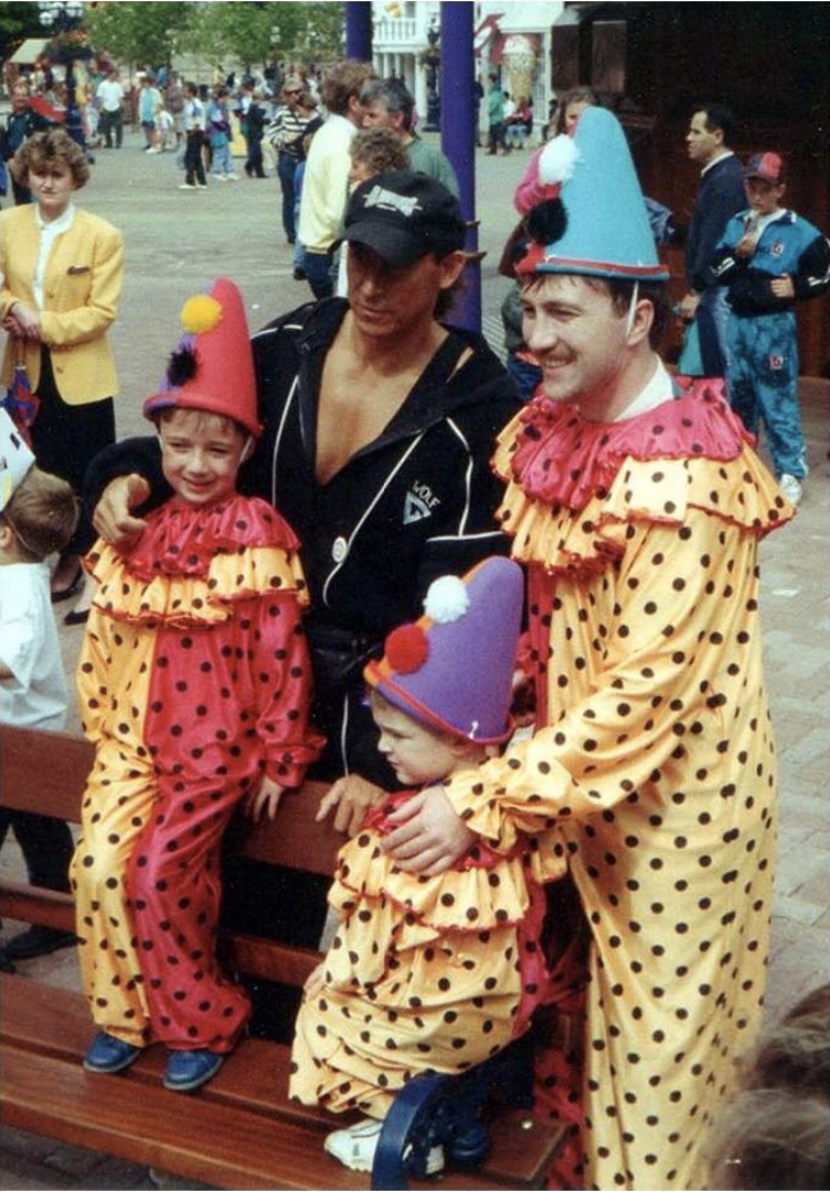 Ro Hardaker meets The Wolf from Gladiators whilst dressed as a clown