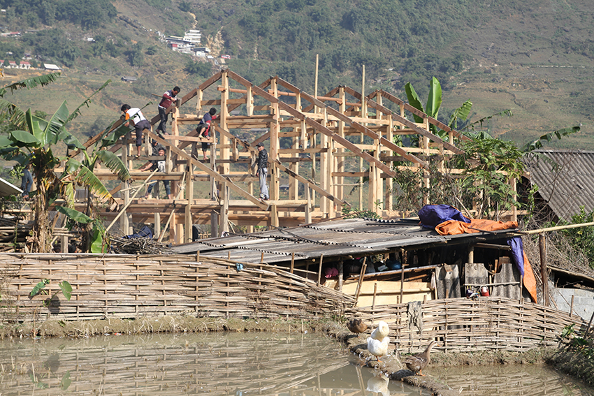 A house being built, Sa Pa