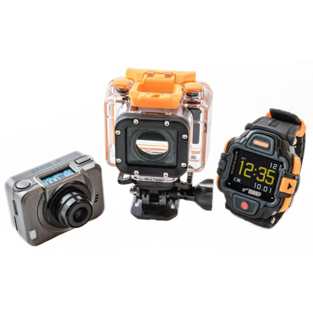 WASP 9902 GIDEON: Trail and underwater viewing system   The WASP 9902 Gideon records high-def video at 1080p60, 1080p30, 960p60, and 720p120, and has an auto-looping function so that video records over itself—perfect for continuous video recording. The camera includes a wireless wrist remote, which connects to the camera up to 15 feet away, while built-in wifi connects the camera to your smartphone for live viewing, remote control and instant sharing online. Up to 16 megapixels. Camera (when installed in waterproof casing) and remote are waterproof to 196 feet. Several accessories are included with this camera.  MRSP: $319     www.waspcam.com