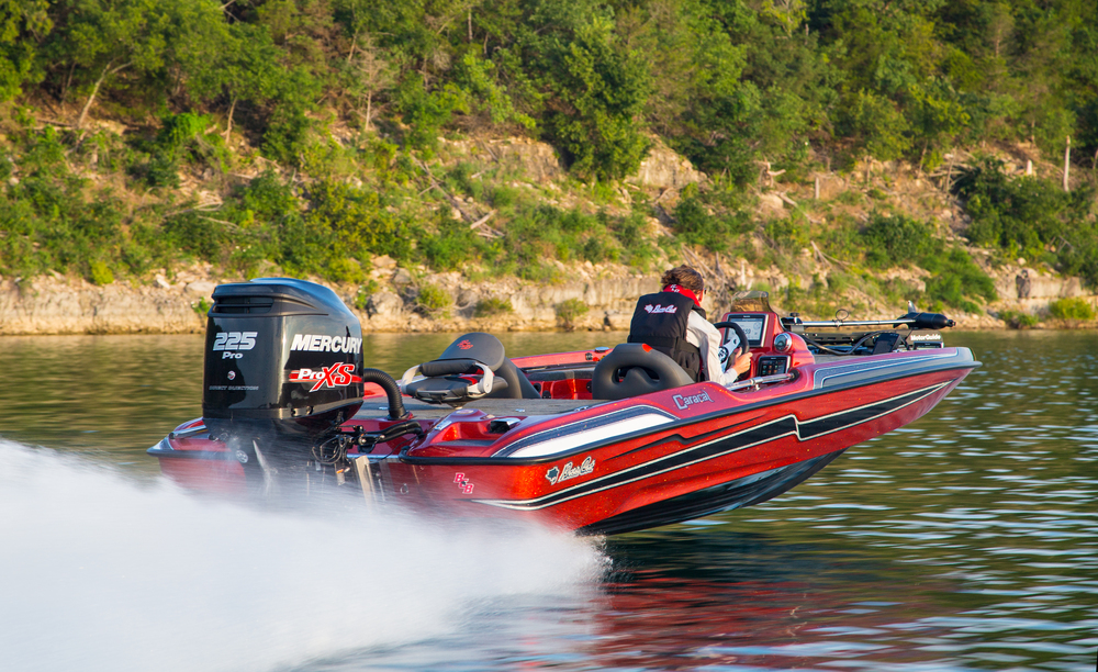 "For 2015, Bass Cat brings back the Caracal. A 19'8"" model carrying extra width well into the front deck."