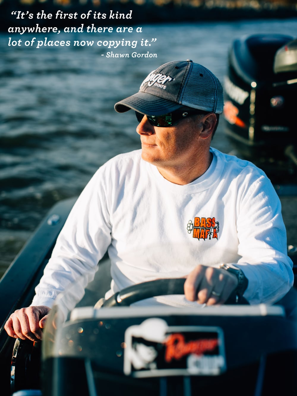 Championship tournament fisherman Shawn Gordon searches for the perfect spot on his hometown lake.