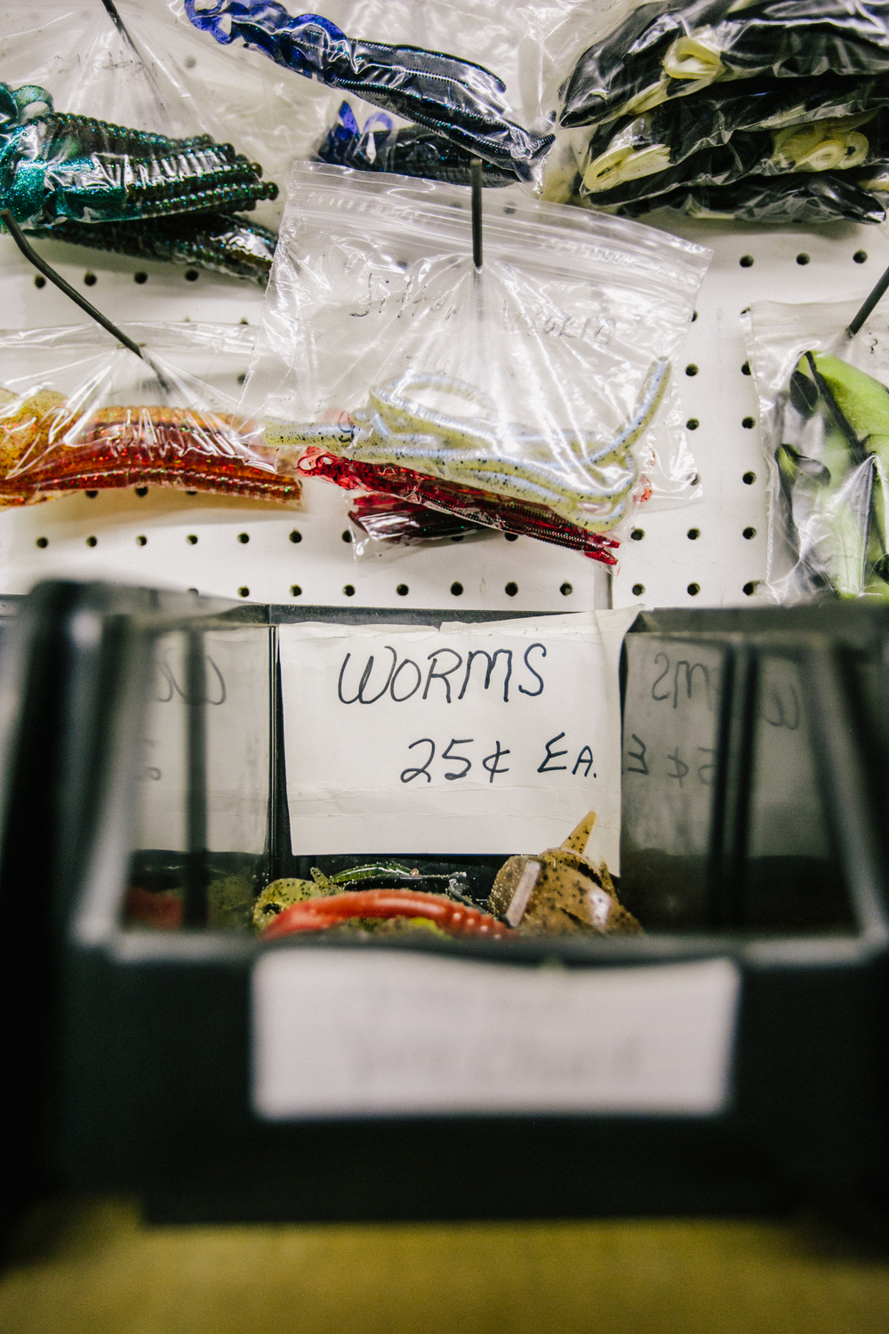 The going rate for worms at Lucky Landing is just a quarter, while a foam bobber will run you about 65 cents.