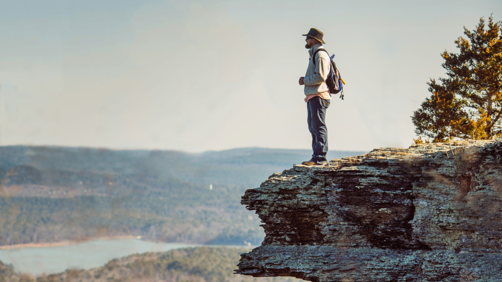 Jorn Holt takes in the amazing view of Greer's Ferry Lake from Sugar Loaf Mountain Island.