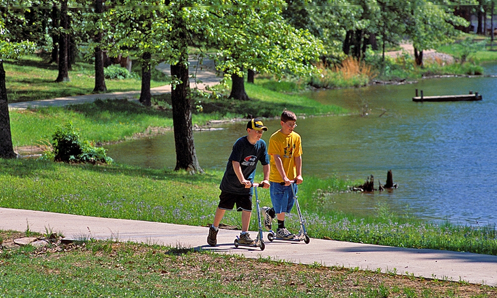Run, walk or even scoot your way along the scenic paths of Lake Charles State Park.