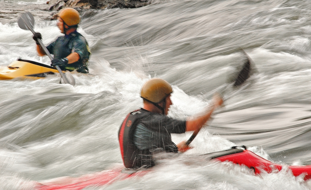 Kayakers battle the strong rapids at Rockport Whitewater near Malvern.