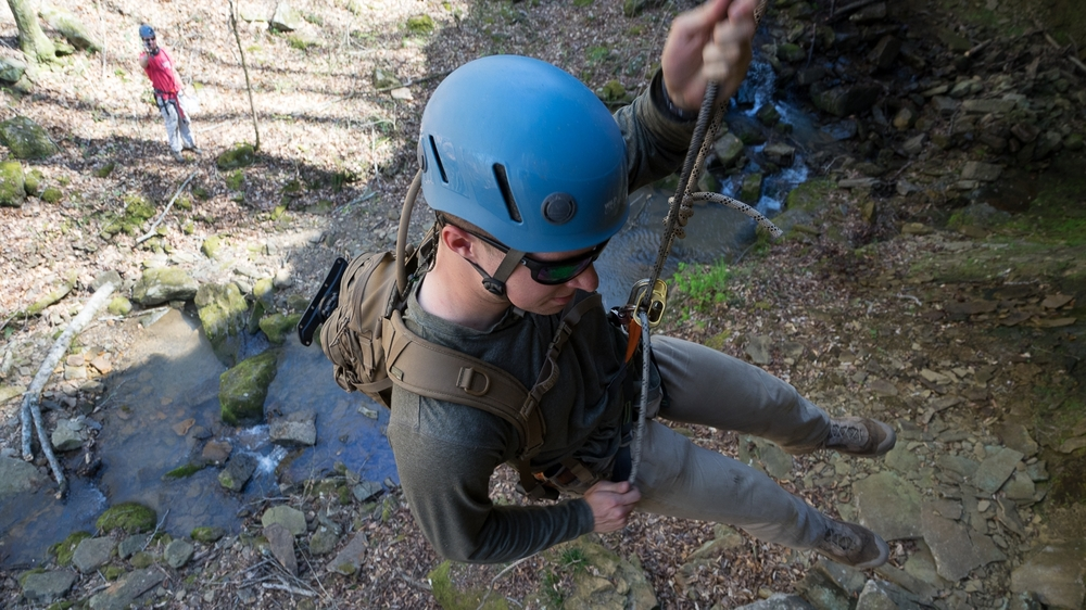 Rappelling is one of the skills that can earn points at the Brewhabushwhack Adventure Race at Byrd's Adventure Center in Ozark.