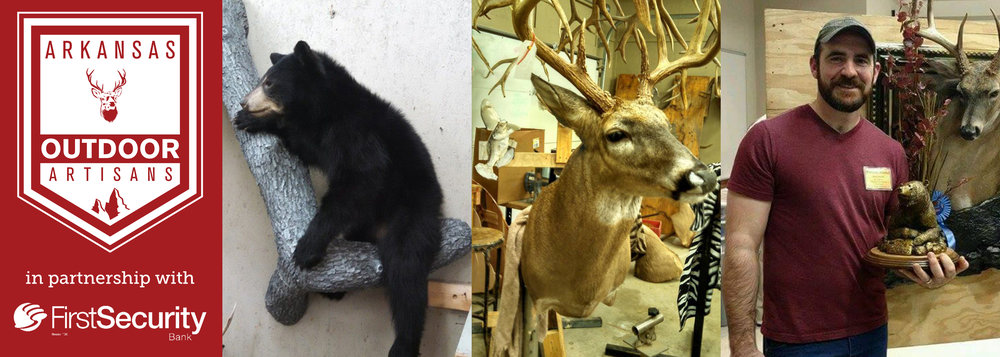 Advanced Taxidermy specializes in common mammals like bear (left) and deer (middle). Brandon Mitchell brought his taxidermy expertise from Indiana to Van Buren (right).