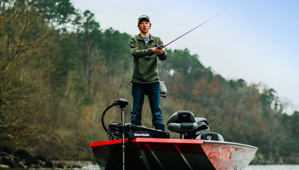 Beau Browning goes after a trophy fish on Lake Catherine.