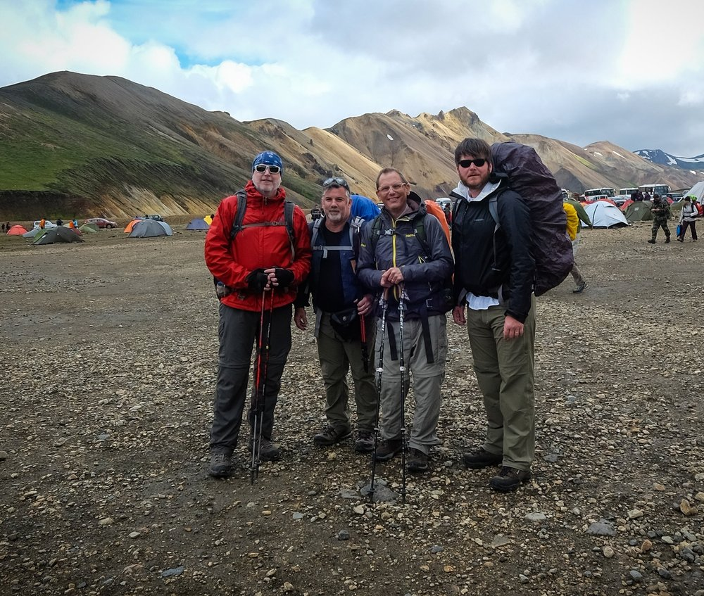 Darren Brodie, Darrell Potts, Kevin Maestri and Matthew Hegi pose at the trailhead before beginning their four day adventure.