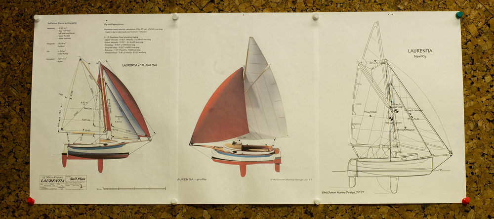 Designs for the Laurentia, a 13-foot micro-cruiser sailboat still in the planning phase.