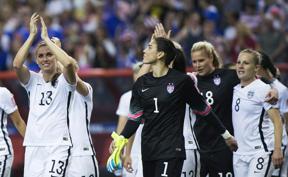 Five athletes on the USA National Team are filing complaints about the inequalities in pay between the women and mens top soccer teams. Photo: Graham Hughes/The Canadian Press via AP