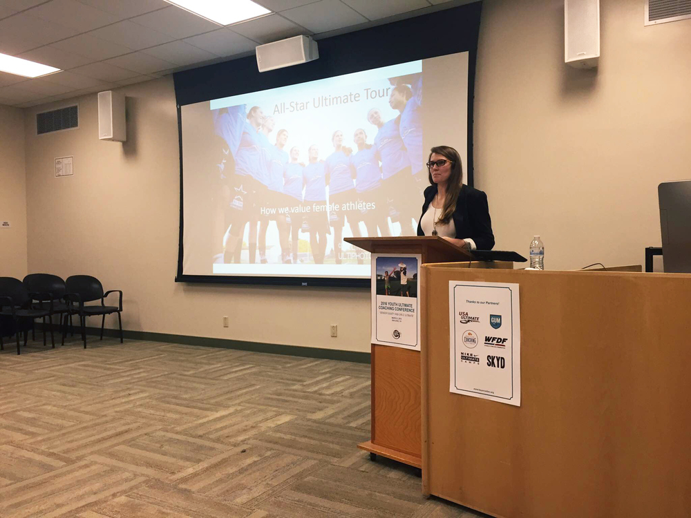 Qxhna Titcomb presented at the 2016 Youth Ultimate Coaching Conference on the success of the All-Star Ultimate Tour, and the clear demand for female media coverage.
