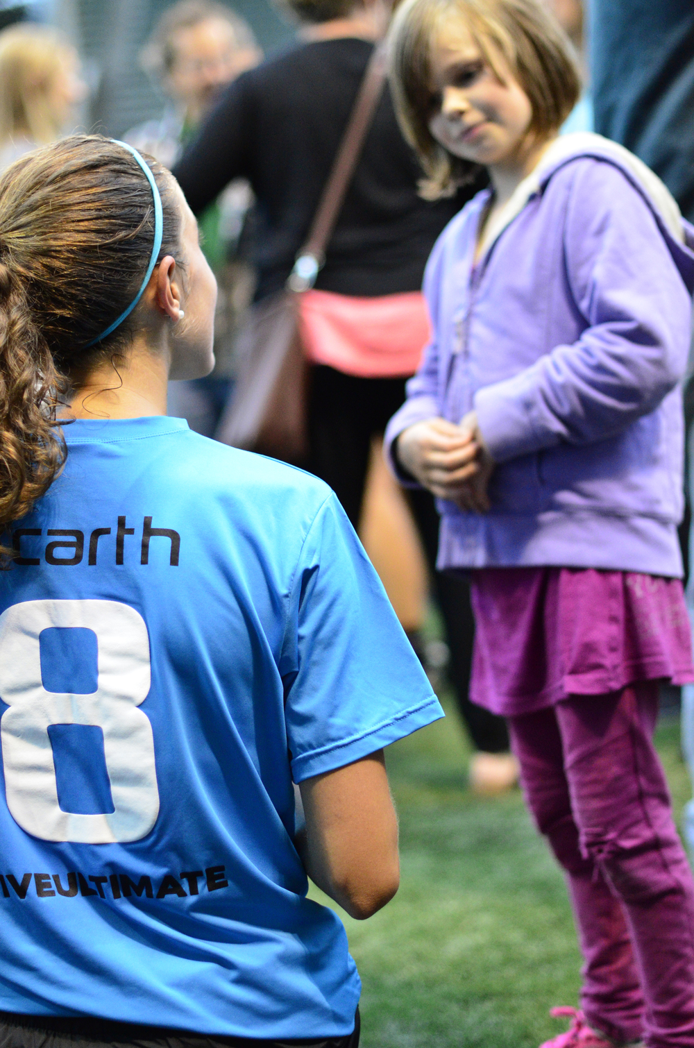 Kate Scarth meets a fan after last Friday's All-Star game v. Seattle Riot.