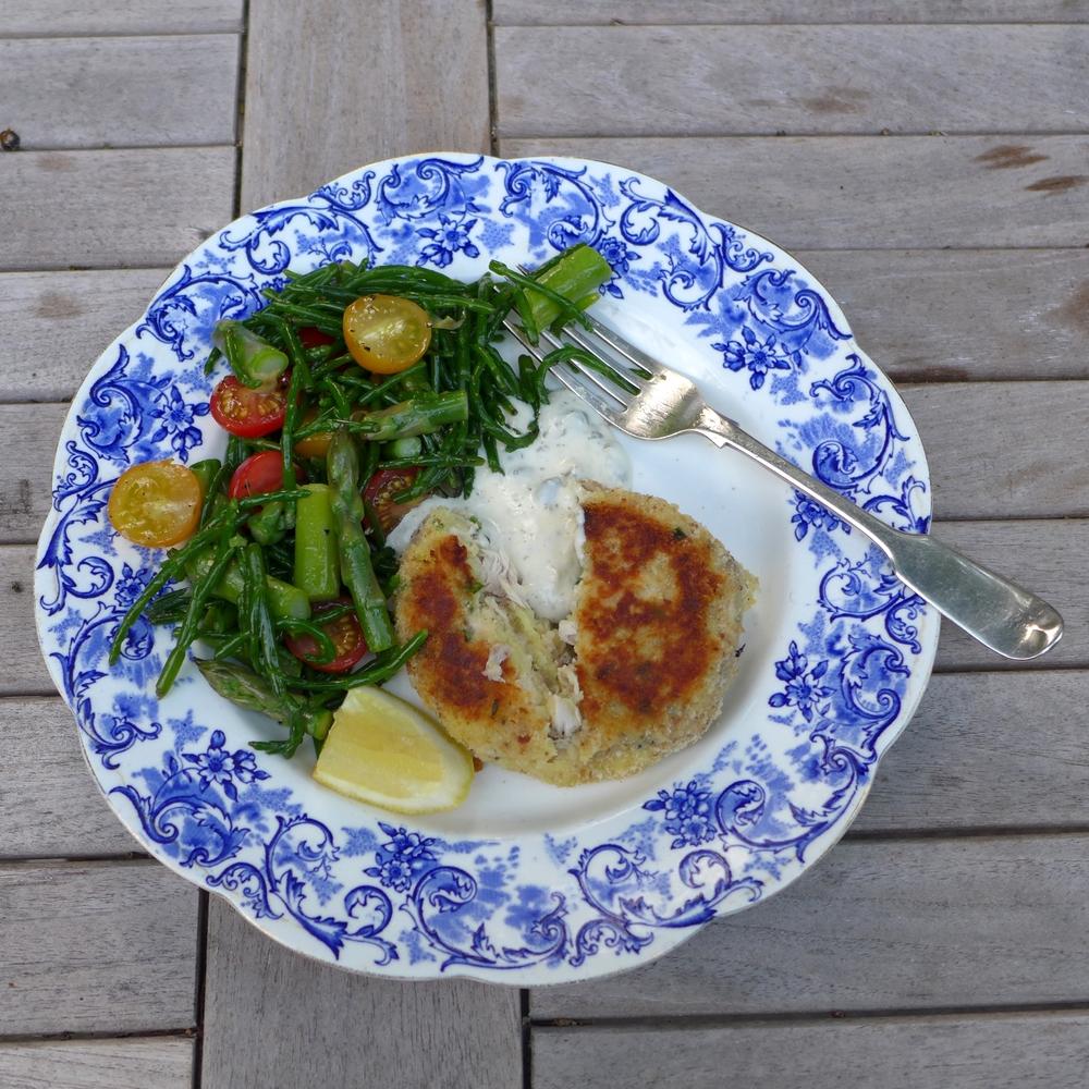 mackerel fishcakes, samphire salad