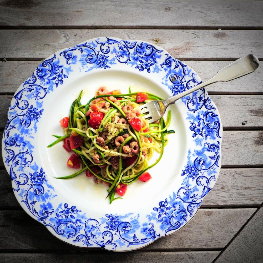 courgettie spaghetti shrimps