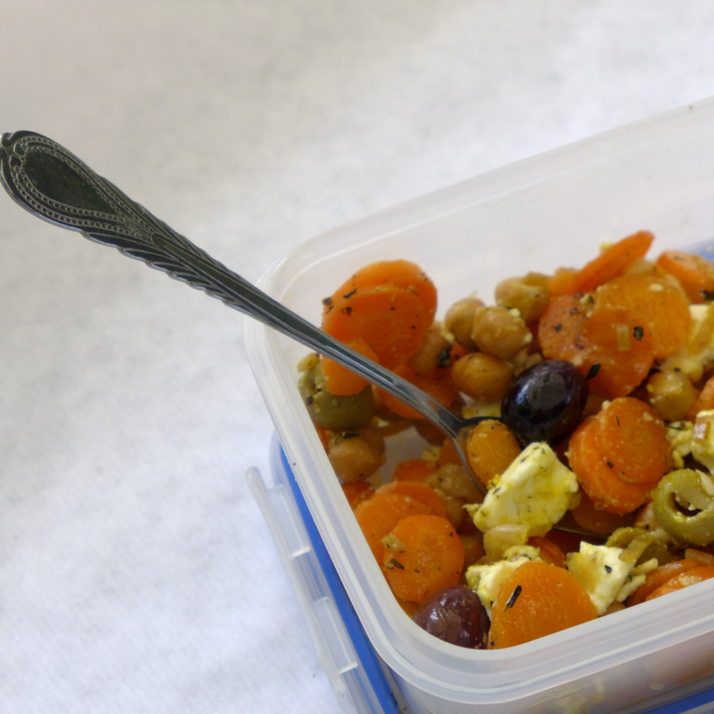 chickpea carrot feta salad