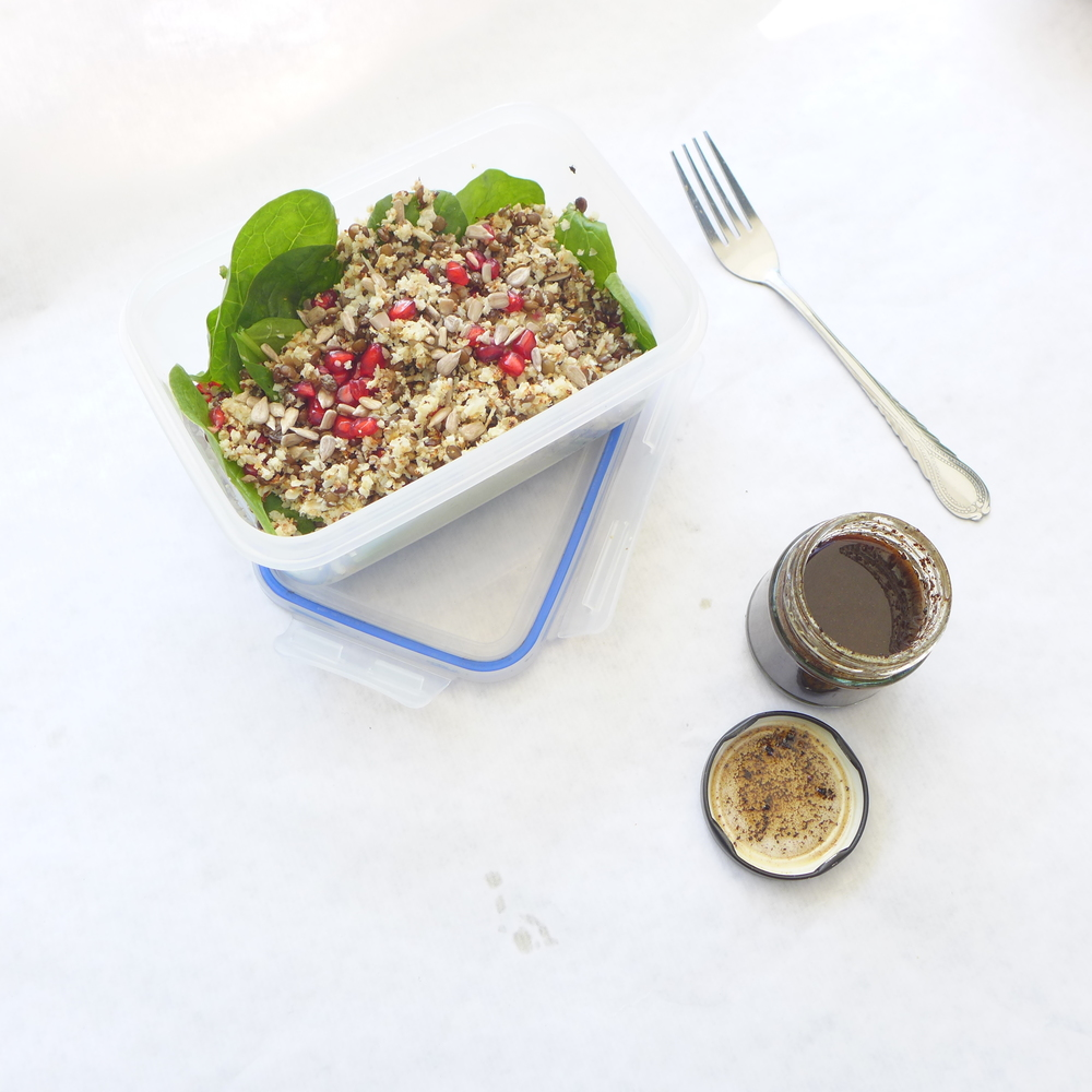 cauliflower rice lentil salad black garlic dressing