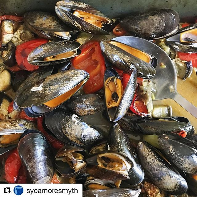 #Repost @sycamoresmyth with @get_repost ・・・ Last night's mussel supper, courtesy of a friend who was going away for the weekend and forgot to cancel her Soleshare order! Didn't have any wine but roasted some red pepper, aubergine and tomatoes with garlic and herbs and chucked the mussels in for the last five minutes which worked beautifully. All it needed crusty bread for mopping up the juices. #mussels #soleshare #surpriseshellfish #sycamoresmyth