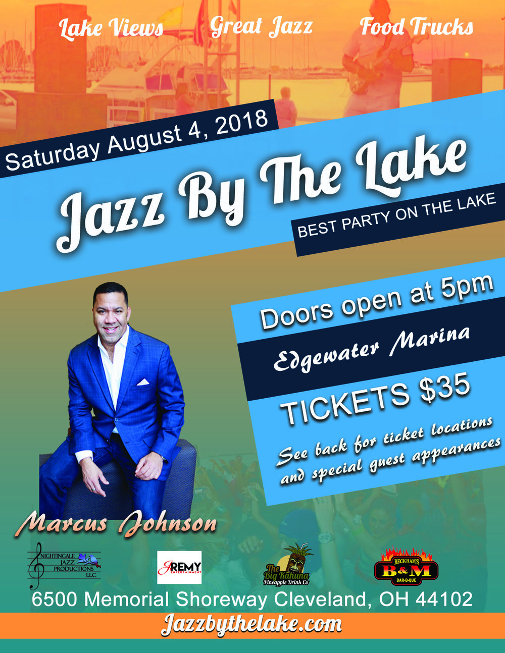 The Rhythms & Tides jazz by the lake concert is back and better than ever for its 7th year.  Get ready to enjoy a great day of smooth jazz on the amazing Cleveland lakefront at one of the city's hottest marinas.  This year we've pulled out all the the stops and put together an all star lineup you will be sure to love. Special guest appearances by Robert Hubbard Jr, Dave Frankel, Herb wilborn Jr,  Tony Watson Jr plus new up and comer Tyrone G to name a few. Headlining the show will be none other than the world renowned Marcus Johnson.  Marcus Johnson is an independent Billboard-ranked, internationally acclaimed jazz keyboardist, and NAACP Image Award Nominee.  To date, Marcus has released more than fifteen Billboard charted CDs, and has the distinction of having his groundbreaking 2008 Billboard Top 20 Contemporary Jazz FLO (For the Love Of) Anthology, which consisted of three distinct CDs -- FLO Chill, FLO Romance and FLO Standards - all chart Top 10 on Billboard Contemporary Jazz Charts simultaneously.      As always gourmet food trucks will be on site to provide guests with delicious food and drinks .  We ask that you do not bring outside food or beverages inside the marina .   Seating is general admission so purchase tickets in advance and arrive early for best seating. Guest may also bring their own seating as well.    Looking forward to seeing you there    - TEAM NIGHTINGALE