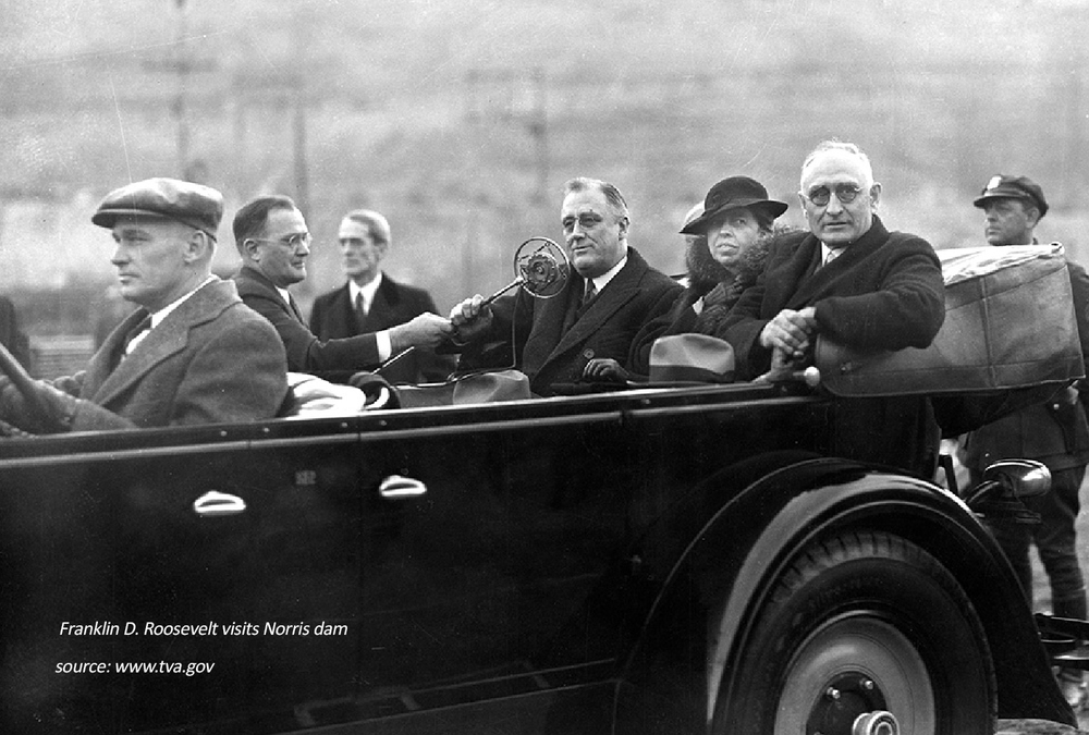 Arthur E.Morgan accompanies President and Mrs. Roosevelt on a visit to the Norris Dam, Andersonville, TN, November 17, 1934