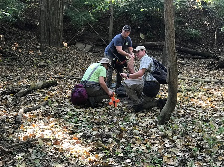 Staff from The Nature Conservancy conduct the first site assessment at Agraria.