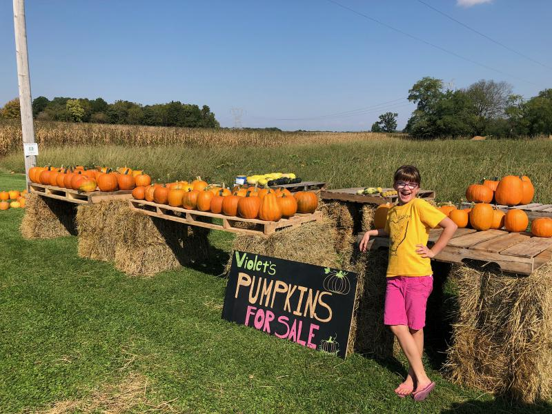 Violet Alexander sells pumpkins she raised on her family's farm. Her parents, Ryan and Melissa, are part of a new generation of young farmers in Ohio.    COURTESY OF RYAN AND MELISSA ALEXANDER