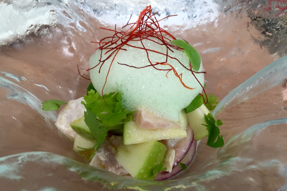 Wild sea bass ceviche with red onion, cucumber, lime, and coriander