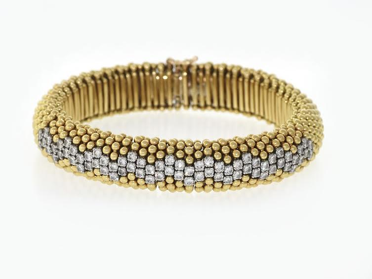1960's 18K Yellow Gold & Diamond Bracelet