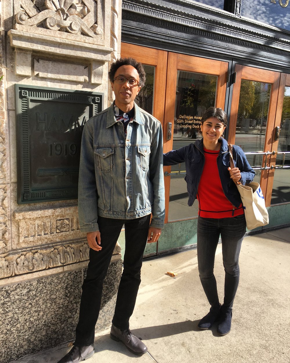Ramaswamy and Clayton outside of SPCO/Liquid Music offices in Saint Paul.