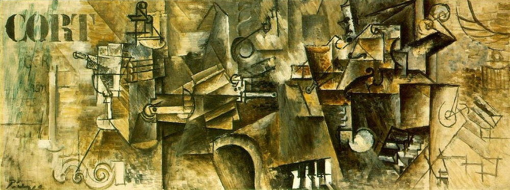 Still life on the piano ('CORT') , Picasso (1911) via  wikiart.org