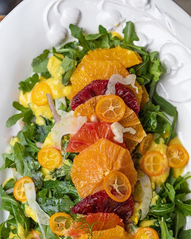 Valencia orange and ruby grapefruit salad with fennel, arugula, and emulsified orange vinaigrette. Tastes like spring! #🍊 ⠀⠀⠀⠀⠀⠀⠀⠀⠀ #weddings #weddingplanning #eventplanning #eaterla #eater #eatfamous #dinela #infatuation #infatuationla #buzzfeast #dailyfoodfeed #instafood #weddinginspo #weddingdesign #weddingday
