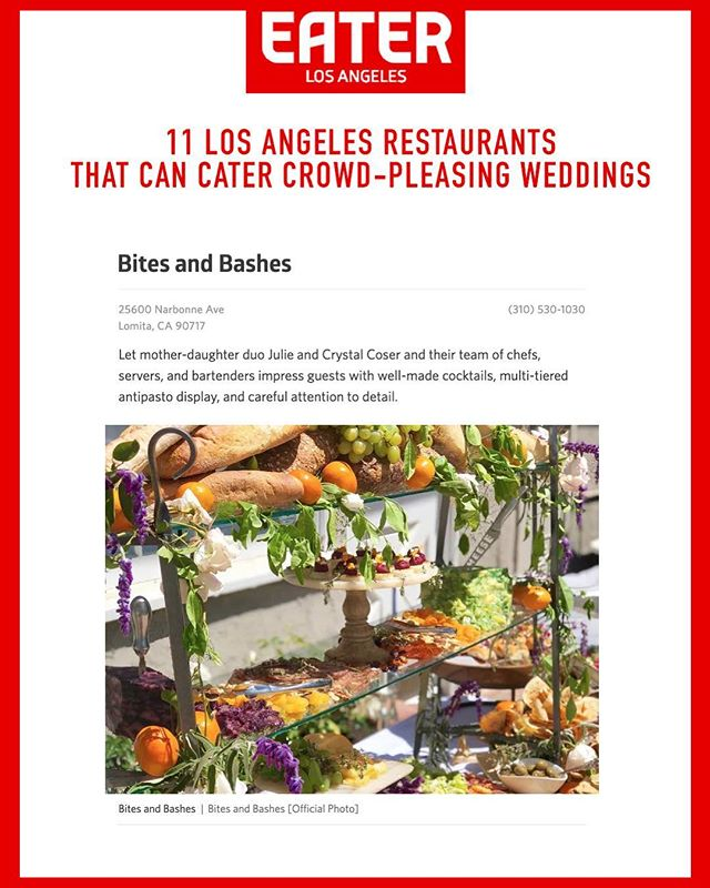 """Let mother-daughter duo Julie and Crystal Coser and their team of chefs, servers, and bartenders impress guests with well-made cocktails, multi-tiered antipasto display, and careful attention to detail."" - @eater_la. Thanks Eater LA for the mention! #LetsParty ⠀⠀⠀⠀⠀⠀⠀⠀⠀ #catering #caterer #events #wedding #weddings #weddingplanning #eventplanning #eaterla #eater #eatfamous #dinela #infatuation #infatuationla #buzzfeast #dailyfoodfeed #instafood #weddinginspo #weddingdesign #weddingday"