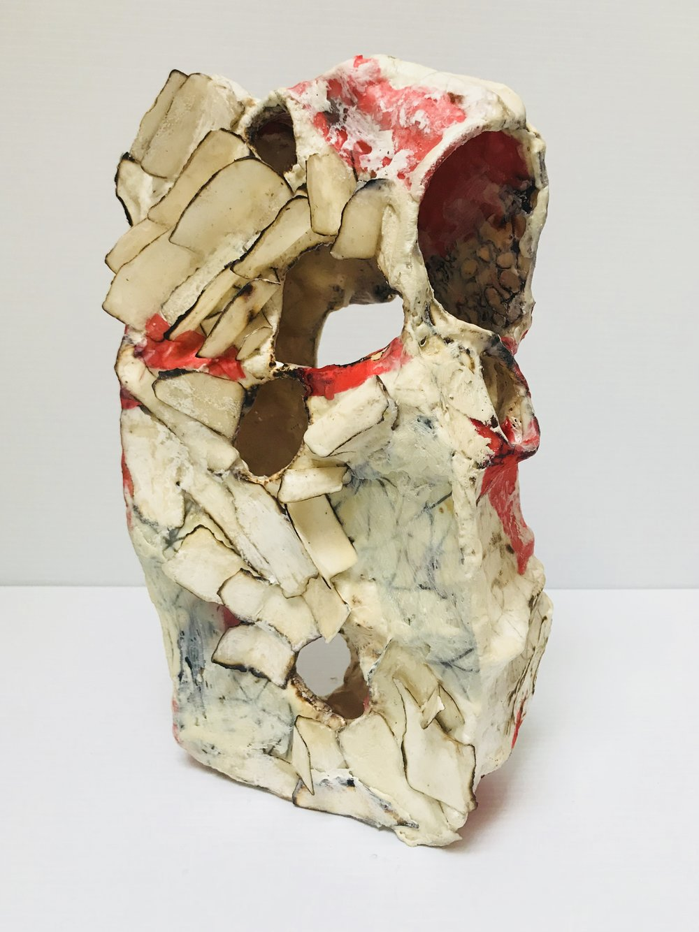 Recovery, paper, fiber, encaustic, 12 x 6 x 3 inches, 2018.